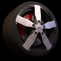 3d model of wheel brakes tyre