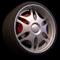 3d wheel brakes tyre model