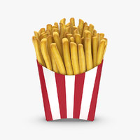 3d realistic french fries model