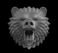 sculpture head bear obj