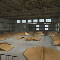 skate park warehouse interior 3d model
