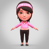 obj cartoon girl rig