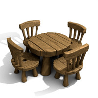 cartoon table set obj