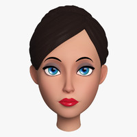 cartoon female head 3ds