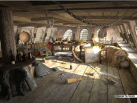 Captain's cabin of a medieval ship