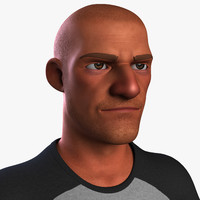 heroic cartoon character man 3d model