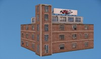 3d old factory building model