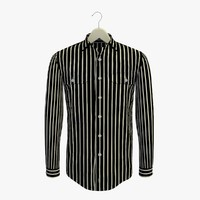3d model stripe black shirt hanger