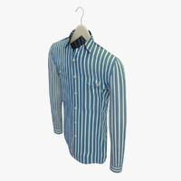 stripe blue shirt hanger 3d c4d