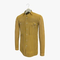3d model stripe brown shirt hanger