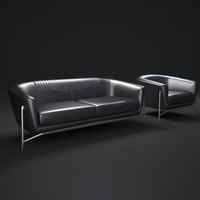 benz-style-leather-sofa 3d model
