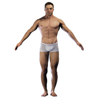 3d realistic body head male