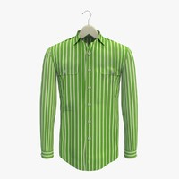 stripe green shirt hanger 3d 3ds