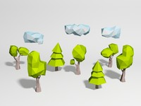 Low Poly 5 Trees and 3 Clouds