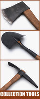 tools shovel pickaxe ax 3d model