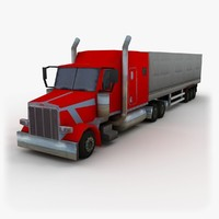 3d 18 wheel truck semi trailer