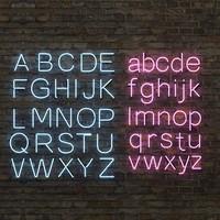 neon lighting alphabet letters 3d max