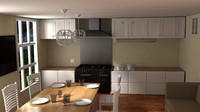 3d model of kitchen room dining