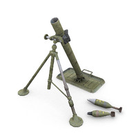 3d model war m1 81mm mortar