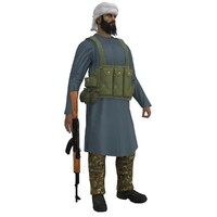 mujahideen rigged 3d model