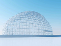 3d dome exhibition hall architectural model