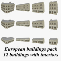 European buildings collection with interiors textured