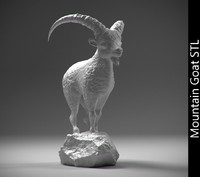 Mountain goat on the stone stl