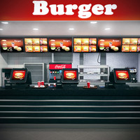 burger counter 3d max