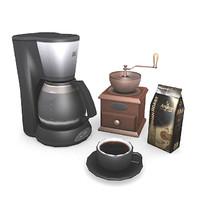 coffeemaker pack coffee grinder 3d obj