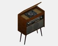 3d vintage radio model