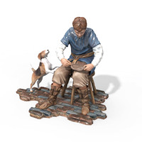 figurine craftsmen 3d obj