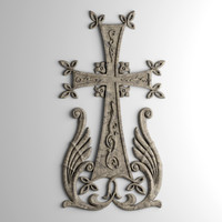 armenian cross bas relief 3d obj