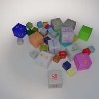3d model alphabet number cube 1