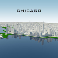 chicago cityscape 3d model