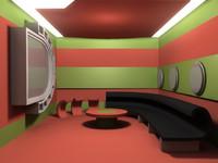 free green makeup room interior 3d model