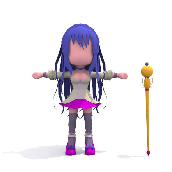 Chibi girl 3D Model_set01
