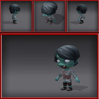 3d model of cartoony zombie