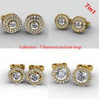 diamond stud earrings 3d model