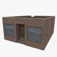 3d brick corner store