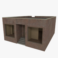 brick corner store interior exterior 3d model