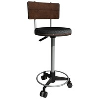 3d model tall wheeled stool