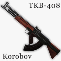tkb-408 assault rifle korobov 3d model
