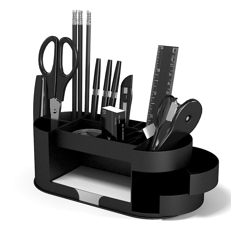 Stationery Office table appliance accessory decor scissors knife pen pencil buisness stapler modern plastic writing set.jpg