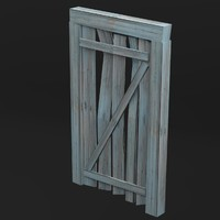 3d model of entrance wooden door uv