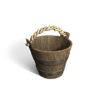 wooden bucket 3d obj