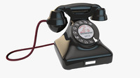 c4d vintage rotary telephone