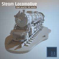 3d steam locomotive train railway engine