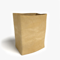 brown grocery bag 3d model