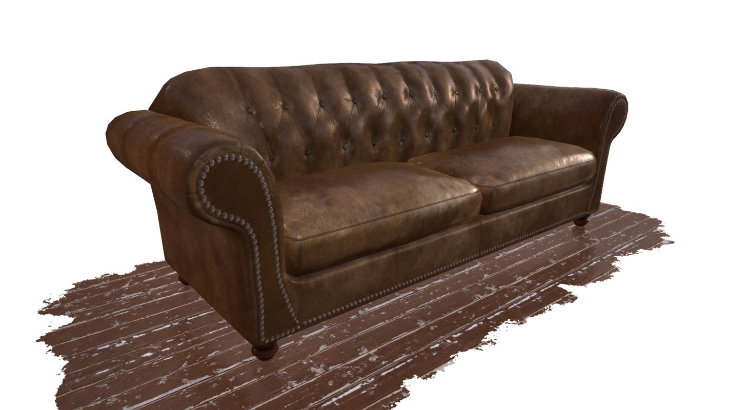 obj worn leather couch