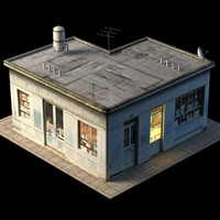 small store building roof 3d max